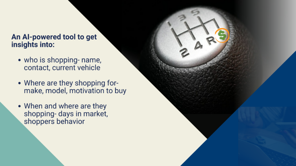 A new marketing tool for dealerships to help them get deeper insights about the potential customers. Image shows a car gear and benefits of the marketing tool for dealerships.