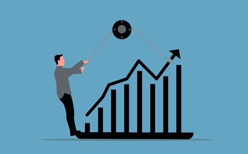Animated picture of a man pulling the graph like to bring it back on track
